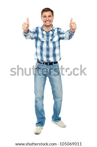 Excited guy showing double thumbs up. Isolated studio shot - stock photo