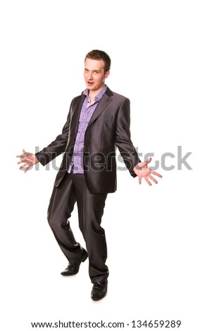 Excited happy businessman  with arms raised in success isolated on white - stock photo