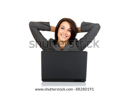 excited happy smile business woman hold hands on head sitting at the desk looking at camera, isolated over white background, concept of businesswoman with success