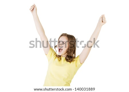 Excited happy success young woman with fists up, isolated on white - stock photo