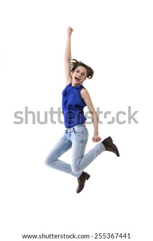 Excited & happy woman jumping for joy. Caucasian ethnicity, isolated on white background.  - stock photo