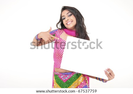 Excited Indian Girl Showing Blank Card - stock photo