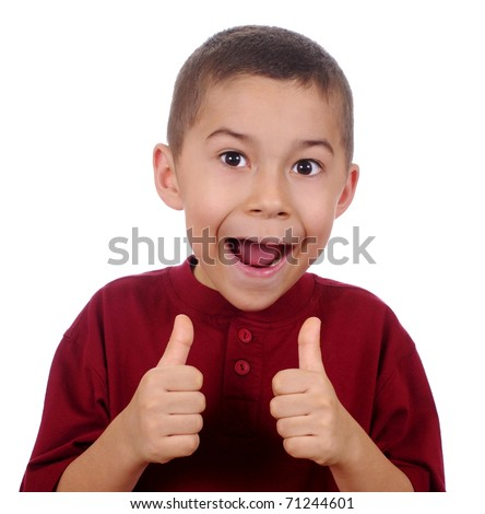 excited kid giving thumbs up sign, isolated on pure white background - stock photo