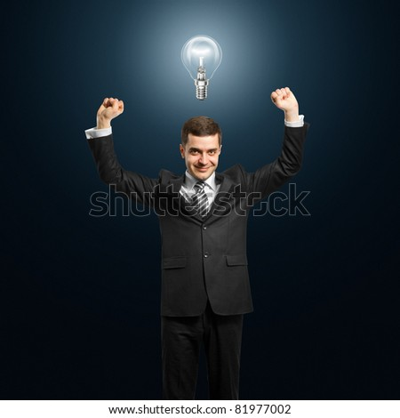 excited lamp-head businessman with hands up