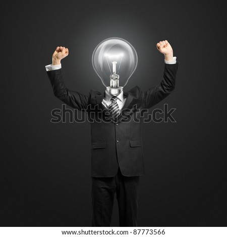 excited lamp-head businessman with hands up - stock photo