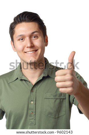 Excited, laughing college student giving thumbs up at the viewer