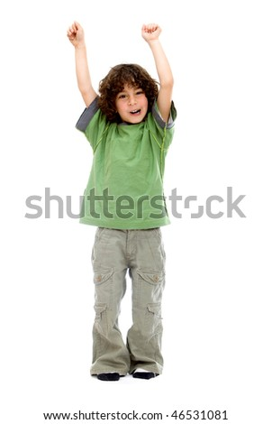 Excited little boy with arms up isolated over a white background - stock photo