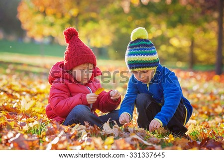 Excited little boys, playing with leaves in the park, autumn time - stock photo