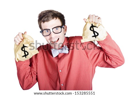 Excited male accountant holding money bags with dollar signs in a tax return concept on white background