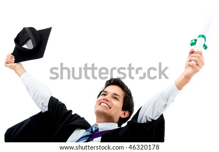 Excited male graduate celebrating isolated over a white background - stock photo
