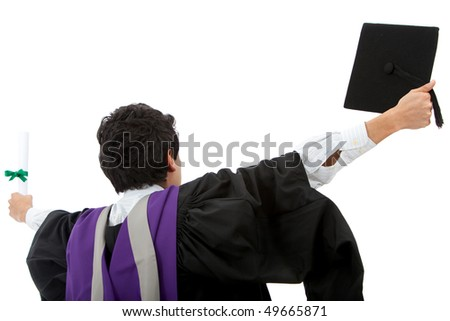Excited male graduate student with arms opened-  isolated over white - stock photo