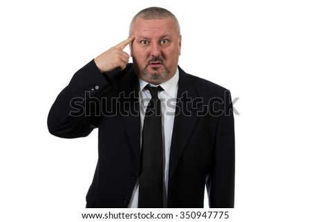 Excited man pointing a great idea idolated on white background - stock photo