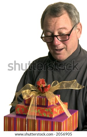 excited man with christmas hanukah gifts - stock photo
