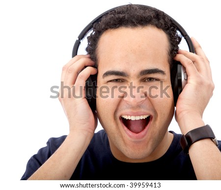 Excited man with headphones isolated on white