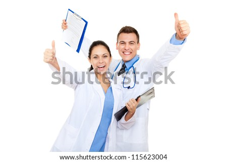 excited medical team doctor man and woman happy smile, holding raised hands arms with thumb up gesture, isolated over white background