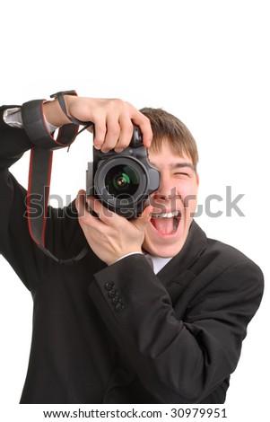 excited photographer - stock photo