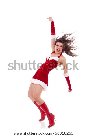 excited pinup dancing woman in Christmas outfit