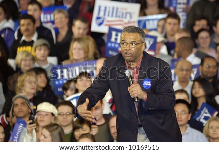 Excited Ron Sims at Hillary Clinton Rally for Presidential Campaign