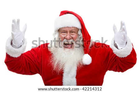 Excited Santa Claus isolated over a white background