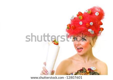 Excited Strawberry lady enjoying strawberry with mousse - stock photo