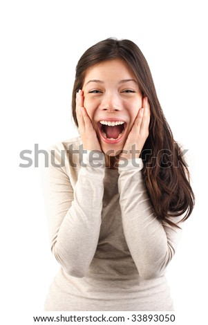 Excited surprised woman holding her head in surprise. Isolated on white background.