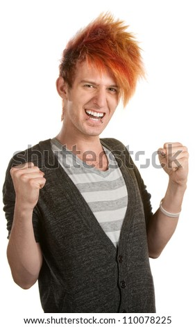Excited teen Caucasian with orange hair holding arms up - stock photo