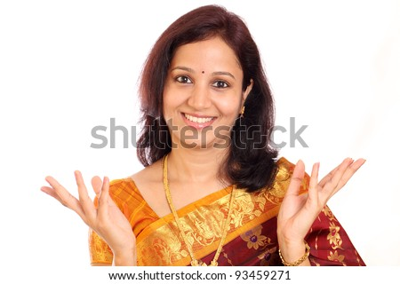 Excited traditonal Indian woman - stock photo