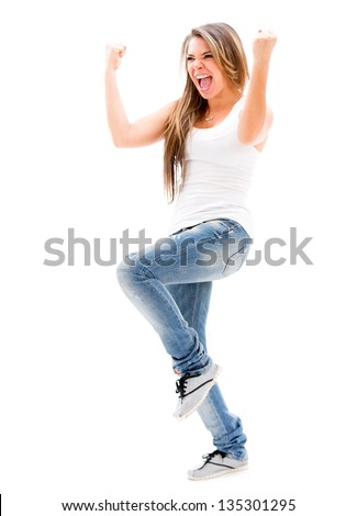 Excited woman celebrating - isolated over a white background - stock photo
