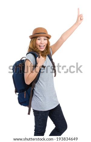 Excited woman go traveling with backpack