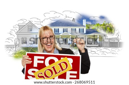 Excited Woman Holding House Keys, Sold Real Estate Sign Over House Photo and Drawing on White. - stock photo