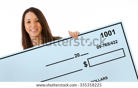 Excited Woman Holds Up Giant Blank Bank Check - stock photo