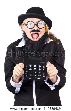 Excited woman in disguise wearing bowler hat, fake mustache and beard and wide rimmed glasses holding large electronic calculator - stock photo
