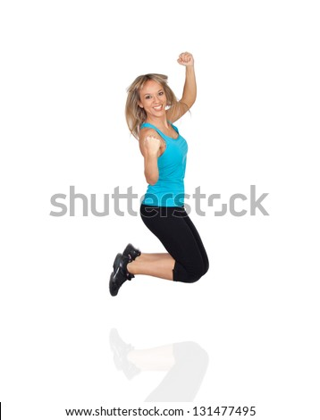 Excited Woman Jumping Isolated On White Background - stock photo