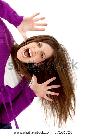 Excited woman portrait isolated over a white background