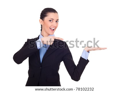 excited woman showing product isolated on white background - stock photo