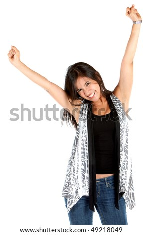 Excited woman with arms up isolated over a white background - stock photo