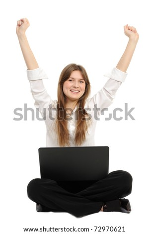 Excited woman with laptop  enjoying success on white background