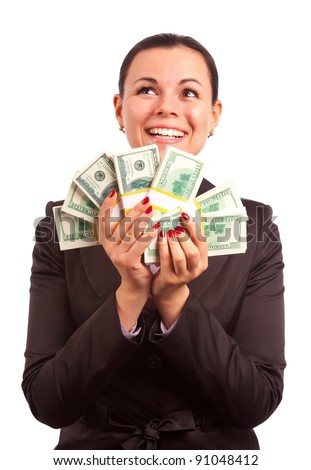 excited women in business suit holding bundle of American dollars on white background - stock photo