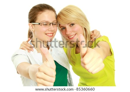 Excited women isolated. focus on thumbs up