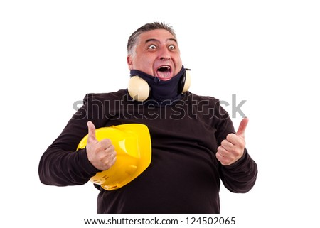 Excited worker with thumbs up for victory  screaming  isolated on white background
