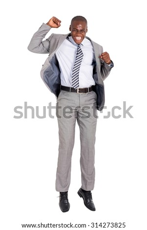 excited young african american businessman jumping on white background - stock photo