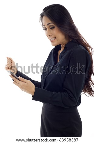 Excited young Asian business woman reading an SMS on cellphone isolated over white background