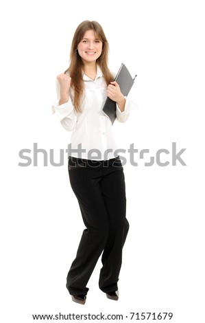 Excited young businesswoman enjoying success on white background - stock photo