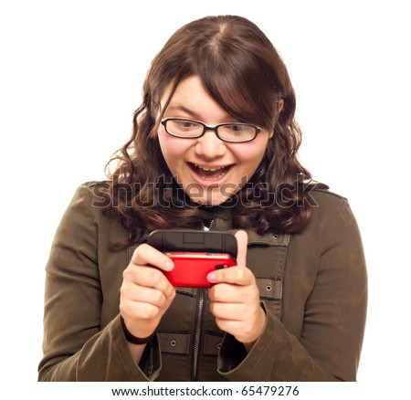 Excited Young Caucasian Woman Texting on Her Mobile Phone Isolated on White. - stock photo