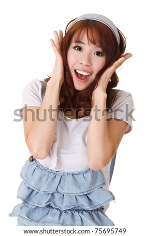 Excited young girl of Asian, half length closeup portrait on white background. - stock photo
