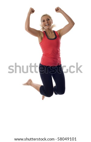 Excited young healthy woman jumping isolated over a white background - stock photo