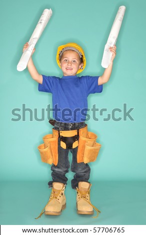 Excited young kid who knows exactly what he wants to be - stock photo