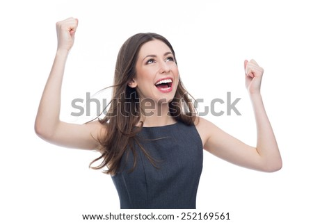 Excited young woman - stock photo