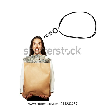 excited young woman holding paper bag with money over white background. concept photo with drawing speech bubble - stock photo