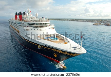 Exciting cruise vacation on board modern cruise ship. CLOSEUP and FRONT VIEW - stock photo